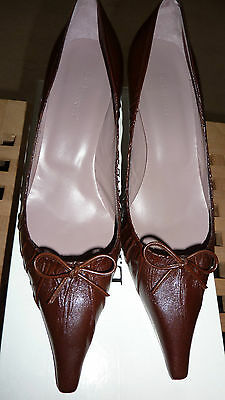 LK Bennett RUST BROWN UK 6.5 39.5 Shoes Leather Courts 39 1/2 FAB VHTF RARE!!!!!