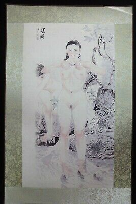 Rare Fine Large Chinese Paper Painting Beautiful Nude Women