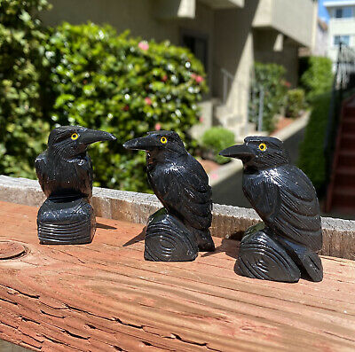 "2.5"" Carved Black Onyx Raven Statue Crow Carving Bird Sculpture Totem"