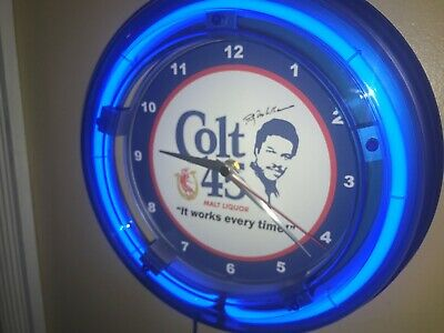 Colt 45 Billy Dee Beer Bar Man Cave Advertising Blue Neon Wall Clock Sign