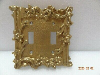 Gold/ Brass Tone Cast Iron/Brass Double Light Switch Plate Cover