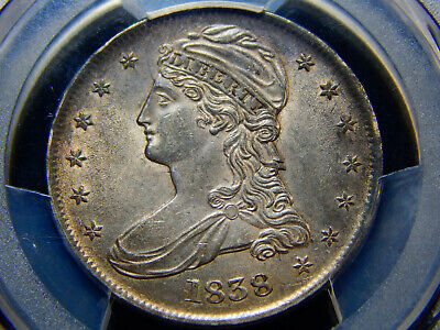1838 50C Capped Bust Half Dollar Reeded Edge AU-58 PCGS/CAC, Perfectly Original!