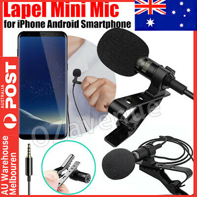 3.5mm Lavalier Microphone Lapel Clip-on Mic for Mobile Phone PC Recording New