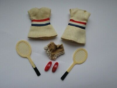 Topper Dawn (Palitoy Pippa) doll  outfit - What a Racket (2 dresses & 2 rackets)