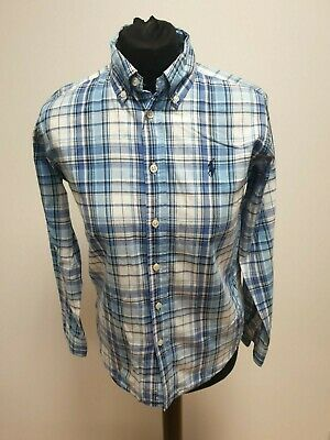 G668 Girls Ralph Lauren Blue White Check Long Sleeve Shirt Uk Age 12/14