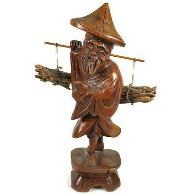 Antique Hand Carved Wooden Asian Chinese Man Carrying Wood Firewood Sticks