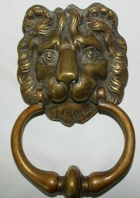 "Lion Head Vintage Door Knocker England 8"" Cast Brass"