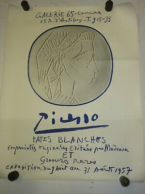 Affiche Lithographiée PICASSO; Pattes Blanches. Galerie 65 Cannes , 1957