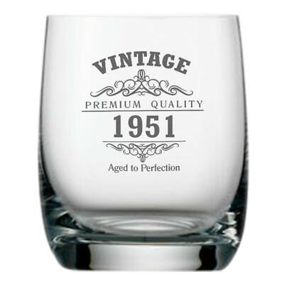 Vintage 1950 70th Birthday Traditional Whisky Glass