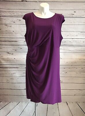 Roz & Ali Dressbarn Side Ruched Dress Sheath SIZE 24 Purple Faux Wrap NWT