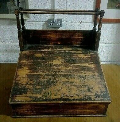 Antique Distressed Dark Stained Oak Writing Slope With Locking Interior Box