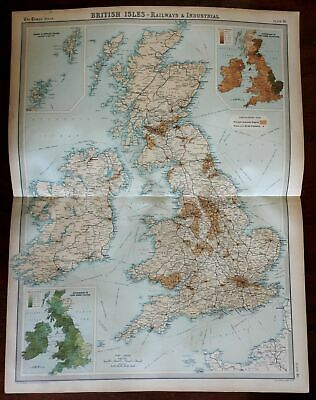 Industry Agriculture British Isles railroads shipping 1922 large detailed map