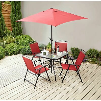 6 Piece Garden Patio Set Outdoor Furniture Dining Table Red  Fold Chairs Parasol