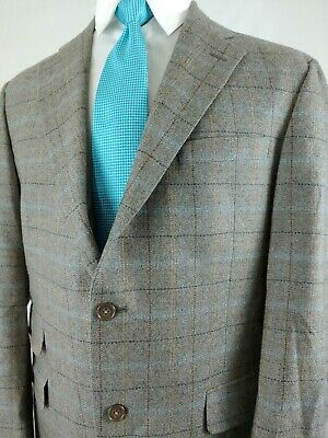 Austin Reed London Men's Gray Check Wool Sport Coat Blazer 2Button Jacket Sz 42R