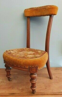 Chair Prayer Prie Dieu Victorian Original Wool Covering Casters Made In Scotland