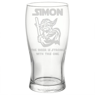 Personalised Star Wars Style Yoda Beer Pint Glass Perfect Birthday Gift