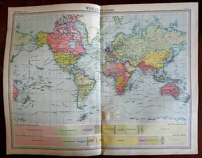 World map Interwar Years Empires of the World 1922 large detailed political map