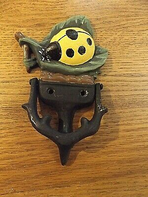 """CAST IRON LADY BUG ON LEAF DOOR KNOCKER 7"""" X 4.5"""" repainted Part of Country Col."""