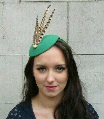 Emerald Racing Green Brown Gold Pheasant Feather Hat Fascinator Races Hair 9033