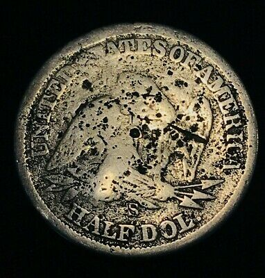 1860 S Seated Liberty Half Dollar 50C Counterstamped Cull US Silver Coin CS1141