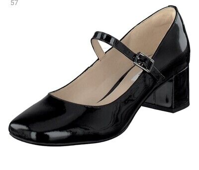 CLARKS CHINABERRY POP Black PATENT Leather SIZE UK 5 D 38