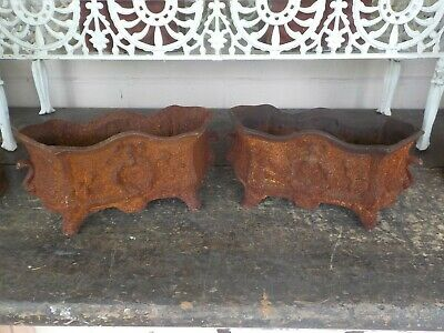 Pair of Antique  cast iron French small urns garden pots  planters