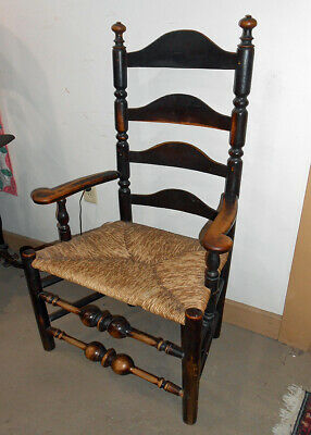 Outstanding Mid 1700's Ladder Back Armchair Bulbous Turnings Red Paint
