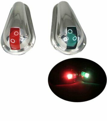 Pair of Red and Green Side Mount Bow Navigation Lights for Boats 1 Mile