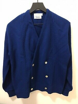Vtg Orlon By Campus Sweater Cardigan Royal Blue Sz M 100% Virgin Orlon USA Made