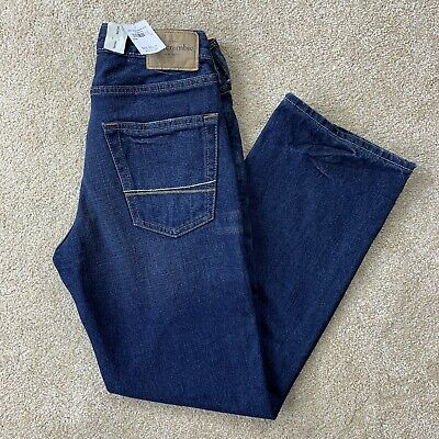 New ABERCROMBIE Boys Size 12 JEANS Dark Blue Horton Classic Straight Button Fly