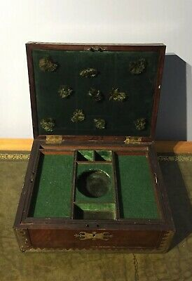 Antique Victorian Mahogany And Brass Inlaid Work Or Jewellery Box