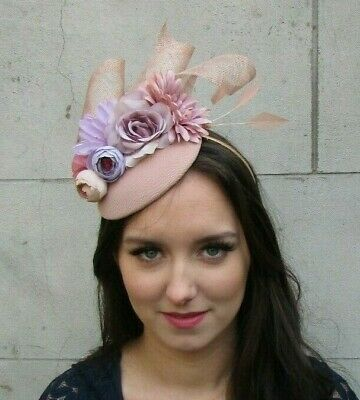 Nude & Lilac Light Purple Flower Feather Hat Fascinator Races Wedding Hair 9042