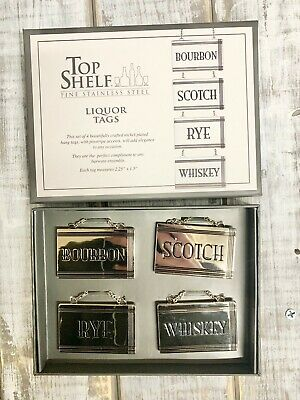 Top Shelf Liquor Tags In Gold (Set Of 4) For Bourbon, Scotch, Rye, Whiskey NEW!!