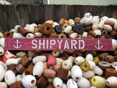 48 Inch Wood Hand Painted Shipyard & Anchor Sign Nautical Seafood (Xws505)