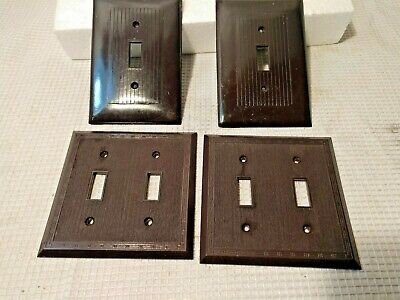 Snapit Switch Wall Plate Cover Textured Dashed  oversized Brown Bakelite Antique