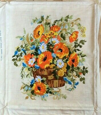 Summer Bouquet Poppies Daisy in Barrel Paragon 0516 Crewel Completed Unframed