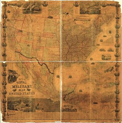 """24"""" x 24"""" 1862 Map The new naval and military map of the United States"""