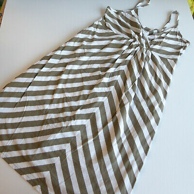 Old Navy Womens Maternity Striped Large Dress White Olive