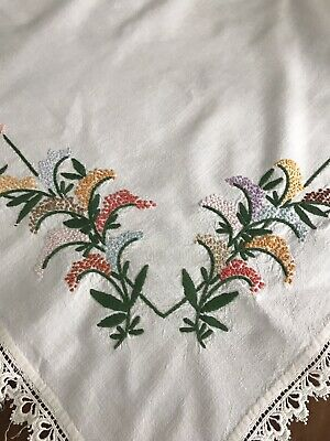 Embroidered Tablecloth French Knots Flowers Roses Gorgeous 48 x 50 Inches
