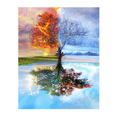 Frameless Four Seasons Tree Landscape DIY Painting By Numbers Kit Paint On  V4X5