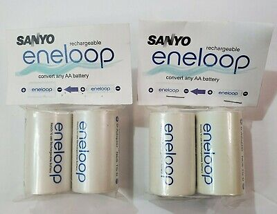 Sanyo Eneloop Battery Adaptor Converter AA to D 2 pks of 2 (4 battey converters)