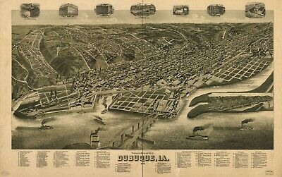 "16"" x 24"" 1889 map of Dubuque, Iowa Perspective of the city of Dubuque, Ia."