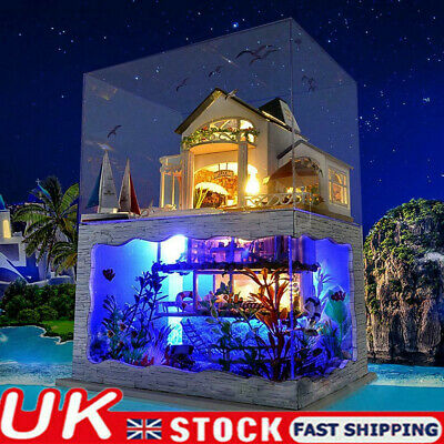 LED Doll House Miniature Furniture DIY 3D Wooden Time Apartment Children Gift UK