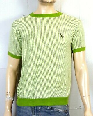 vtg 60s 70s retro Men's Striped Green SIU Ringer Sweatshirt Sweater SS sz M