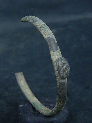 Ancient Bronze Bracelet With Seal Bactrian 300 BC #SG4755