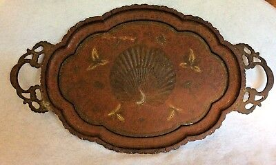 Vtg Indian Brass metal Peacock Tray etched and painted w/applied ornate handles
