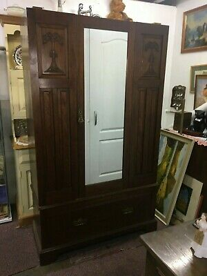 Edwardian Mahogany Single Mirrored Door Wardrobe With Carved Panels & Draw