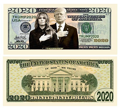Pack of 100 - Donald and Melania Trump 2020 Re-Election Presidential Dollar Bill