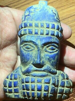 Unique Old sassanian king Face Head Lapis lazuli Stone Relief