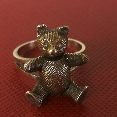Vintage Sterling Teddy Bear Ring, Movable Arms, Legs & Head